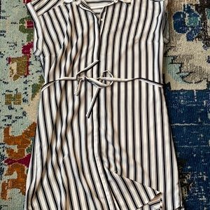 Black and white striped dress with tie